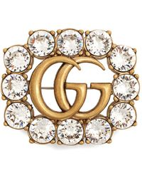 Gucci Metal Double G brooch with crystals xRTSYi