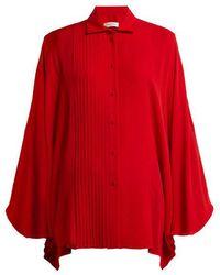 Valentino - Pleated Silk Blouse - Lyst