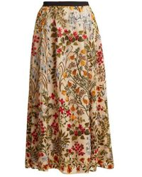 RED Valentino - Floral-embroidered Macramé Skirt - Lyst