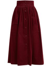 The Vampire's Wife Visiting Button Front Cotton Corduroy Midi Skirt - Red