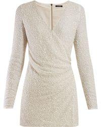 Balmain - Sequinned Wrap Front Crepe Mini Dress - Lyst