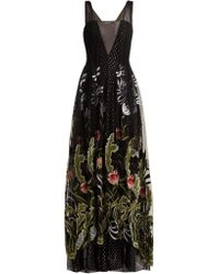 Rodarte - Floral Embroidered Fil Coupé Tulle Gown - Lyst
