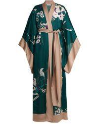 Carine Gilson - Floral Print Silk Satin Kimono Robe - Lyst