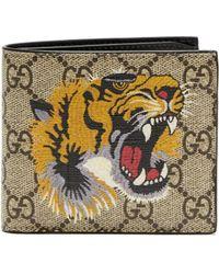 Gucci - Gg Supreme Tiger Print Canvas Wallet - Lyst