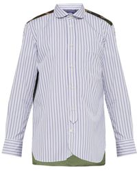 Junya Watanabe - Stripe And Camouflage Print Cotton Shirt - Lyst