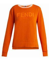 Fendi - Long-sleeve Crew-neck Logo Knit Jumper - Lyst