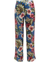 F.R.S For Restless Sleepers Carite Hawaiian Print Satin Pants
