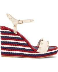 Valentino - Torchon Rockstud Leather Wedge Sandals - Lyst