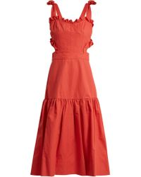 Rebecca Taylor Cut Out Cotton And Linen Blend Dress - Red
