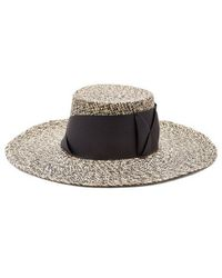 Sensi Studio - Faille-bow Embellished Woven-straw Hat - Lyst