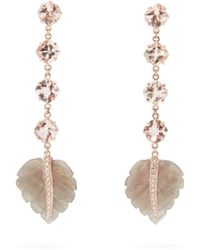Jacquie Aiche - Feather Tourmaline, Morganite & Diamond Earrings - Lyst