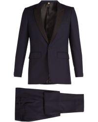 Burberry - Contrast Lapel Single Breasted Wool Tuxedo - Lyst