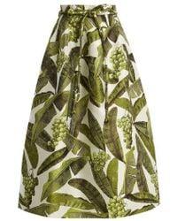 Oscar de la Renta - Leaf-jacquard Midi Skirt - Lyst