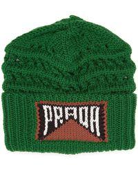 Prada - Logo Knitted Wool Beanie Hat - Lyst