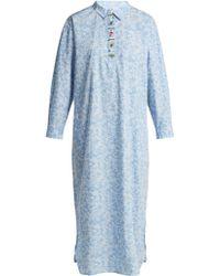 Ganni - Sage Floral Print Long Sleeve Dress - Lyst