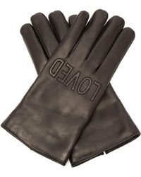 Gucci - Loved Embroidered Leather Gloves - Lyst