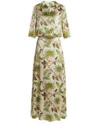 Adriana Iglesias - Paulina Tropical-print Stretch-silk Gown - Lyst