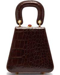 STAUD Kenny Top Handle Crocodile Embossed Leather Bag - Brown