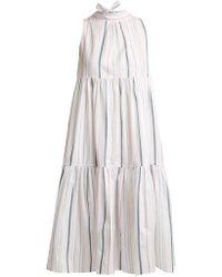 Asceno - - Striped Neck Tie Cotton Dress - Womens - White Stripe - Lyst
