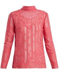 Valentino - High Neck Chantilly Lace Blouse - Lyst