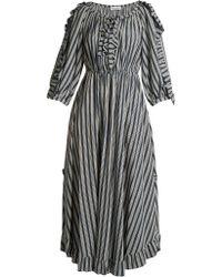 Sonia Rykiel - Striped Ruffle Trimmed Crepe Midi Dress - Lyst
