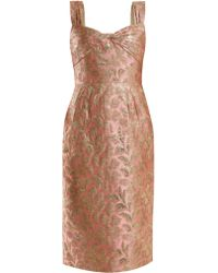 Prada - Sweetheart Neck Floral Brocade Dress - Lyst