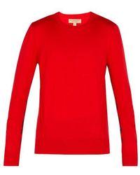 Burberry - Check-insert Merino-wool Sweater - Lyst