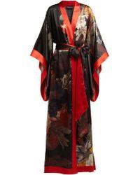 Carine Gilson - Floral Print Silk Satin Kimono - Lyst