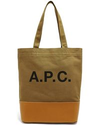 A.P.C. - Contrast-panel Logo-print Canvas Tote Bag - Lyst