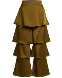 OSMAN - Felix Flounce-panel Cropped Satin Trousers - Lyst