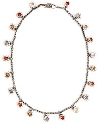 Bottega Veneta - Cubic Zirconia Oxidised Sterling Silver Necklace - Lyst