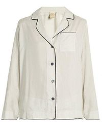 Morpho + Luna - Cara Pinstriped Silk-satin Pyjama Shirt - Lyst