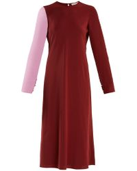 Tibi - Bi-colour Contrast-sleeve Silk-georgette Dress - Lyst