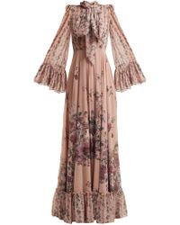 Luisa Beccaria - Pussy Bow Floral Print Georgette Gown - Lyst