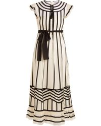 RED Valentino - Contrast Trimmed Point D'esprit Dress - Lyst