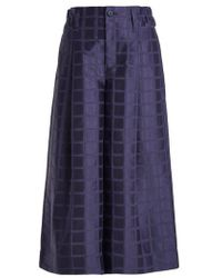Issey Miyake - Checked-jacquard Cropped Trousers - Lyst