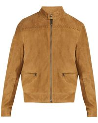 Bottega Veneta - Intrecciato Detailed Suede Jacket - Lyst