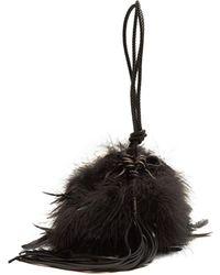 Saint Laurent - Mansour Feather-embellished Clutch - Lyst