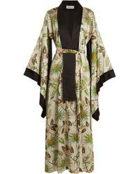 Adriana Iglesias - Anna Reversible Tropical Print Stretch Silk Robe - Lyst
