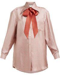 Gucci - Stirrup Print Pussybow Silk Shirt - Lyst