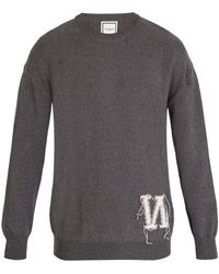 Wooyoungmi - Crew Neck Reverse Intarsia Logo Cotton Sweater - Lyst