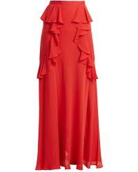 Elie Saab - Ruffle Silk Blend Skirt - Lyst