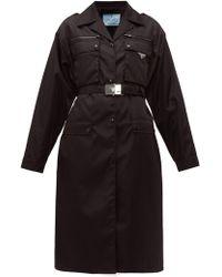 7113976234d Burberry Brit Short Technical Taffeta Peplum Trench Coat in Black - Lyst
