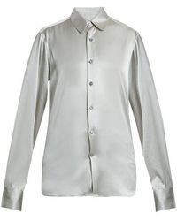 CONNOLLY - Point-collar Stretch-silk Satin Shirt - Lyst