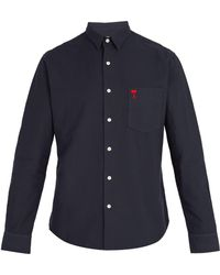 AMI - Logo Embroidered Cotton Shirt - Lyst