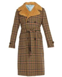 Gucci - - Checked Faux Shearling Collar Coat - Mens - Brown - Lyst