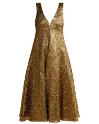 Rochas - Metallic-bouclé Foil-effect Midi Dress - Lyst
