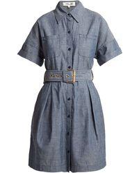 Diane von Furstenberg - Belted Cotton-chambray Dress - Lyst