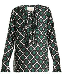 LaDoubleJ - Tuxedo Geometric Print Silk Shirt - Lyst
