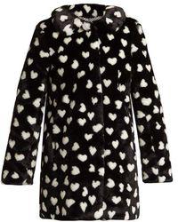 HVN - Courtney Heart Print Faux Fur Coat - Lyst